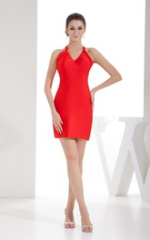V-Neck Sleeveless Fitted Mini Dress with Halter