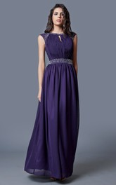 Brilliant Short Sleeve Beaded Neck Chiffon Gown With Keyhole Back