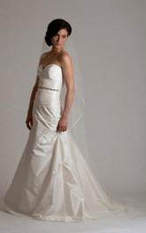 Taffeta Sweetheart Long A-Line Wedding Gown With Beading