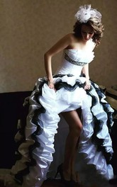 A-Line Strapless Taffeta High-Low Sleeveless Wedding Dress with Corset Back