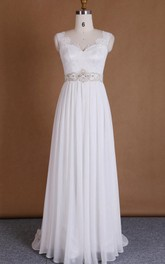 V-Neck Chiffon Lace Satin Dress With Beading Appliques Low-V Back