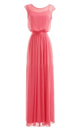Two Piece Full Length Pleated Gown With Keyhole Back