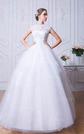 Glamorous Beadings White Tulle Wedding Dress Ball Gown Bowknot
