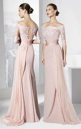 Sheath Half-Sleeve Off-The-Shoulder Appliqued Maxi Chiffon Prom Dress