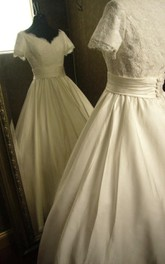 Hand Made V-Neck Satin Ball Gown With Gathered Skirt and Lace Bodice