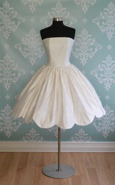 Strapless Short Taffeta A-Line Wedding Dress With Scalloped Hem