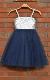 Knee-length Tulle Dress With Sequins&Flower