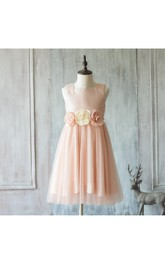 2018 Peach Sleeveless Square Neck Tulle Junior Bridesmaid Dress With Satin Bodice
