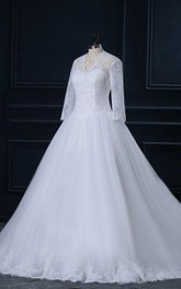 V-Neck Long Sleeve Cathedral Train Tulle Lace Satin Dress
