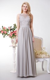 Lace Top Bateau Neck Chiffon Long Dress With Back Keyhole