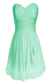 Sweetheart Criss-cross Chiffon A-line Dress With Drapping