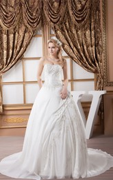 Strapless Embroidered Ball Gown with Ruching and Beading