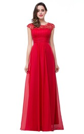 Newest Red Chiffon Lace 2018 Prom Dress Zipper Illusion Cap Sleeve