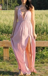 Wedding Prom Evening Open Back Backless Pink Maxi Dress