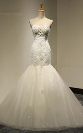 Long Mermaid Tulle Wedding Dress With Appliques And Court Train