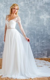 Illusion Long Sleeve Tulle A-line Floor-length Wedding Dress With Appliques
