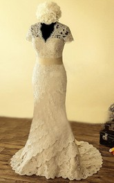 V-Neck Keyhole Back Mermaid Lace Wedding Dress With Sash And Flower