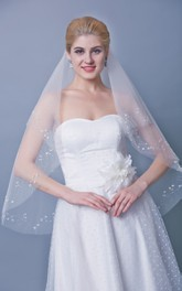 Three Tier Mid Length Veil With Beaded Edge