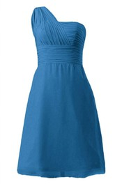 One-shoulder Ruched Bodice Knee-length Chiffon Dress