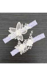 European Style Floral Lace Applique Two Sets Of Elastic Bridal Garter Within 16-23inch