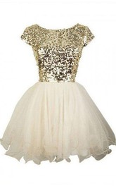 A-line Ball Gown Bateau Short Sleeve Ruffles Sequins Short Mini Tulle Sequins Homecoming Dress