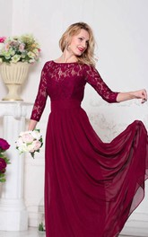 Illusion 3 4 Sleeve Lace Top Chiffon MOB Dress