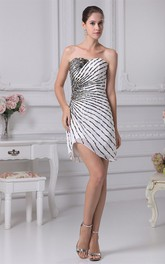 Asymmetrical Mini-Length Sweetheart Column Gown with Beadings