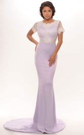 Sheath Short Sleeve Scoop Neck Appliqued Jersey Prom Dress