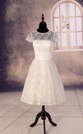 Sheer Lace Wedding Tea Length Wedding Garden Bridal Wedding Gown