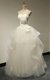 Tiers A-line Floor-length Tulle Wedding Dress With Appliques And Ruching