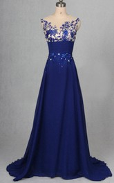 Chiffon Sleeveless Dress With Beading And Appliques