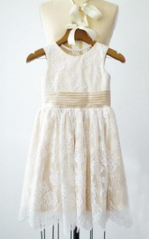 Sleeveless Ivory Lace Champagne Lining Bridesmaid Party Dress