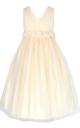 Sleeveless V-neck A-line Pleated Dress With Bow
