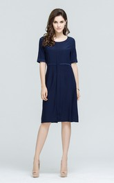 Navy Scoop Neck Half Sleeve Midi Dress with Back Slit