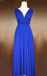 Maxi Cobalt Blue Bridesmaid Convertible Twist Wrap Dress