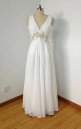 V-neck Chiffon Dress With Appliques And Illusion Back
