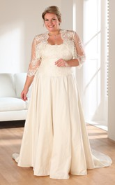 A-Line Long Strapless 3-4-Sleeve Satin Brush Train Appliques Dress