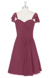 Sweetheart Chiffon A-Line Dress With Ruffled Cap Sleeves and Ruching
