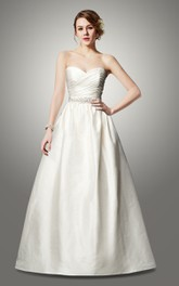 Beaded A-Line Sweetheart Taffeta Wedding Dress With Bow