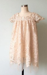 Illusion Cap Sleeve Lace Dress With Flower