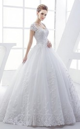 Queen Anne Elegant Lace Bridal Ball Gown With Corset And Keyhole Back