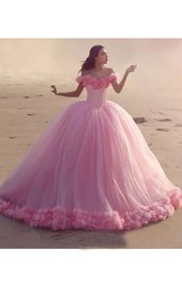 Princess Ball Gown Off-the-shoulder Ruffled Short Sleeve Tulle Dress