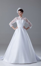 3-4-sleeve a-line lace gown with bow and illusion