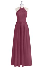 Chiffon Floor Length A-Line Sleeveless Dress With Ruching