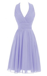 Halter V-neck Pleated Short Dress With Ruched Band