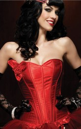 Sweetheart Red Overbust Corset With Flower Appliqued
