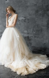 Plunged Sleeveless A-Line Tulle Ball Gown With Lace And Court Train