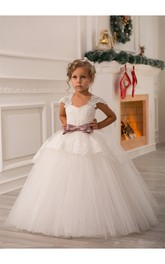 Ivory Cap Sleeve Pleated Tulle Gown With Lace Bodice and Bow Belt