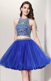 Two Piece Halter Sleeveless Beading Pleats Short Mini Lace Homecoming Dress