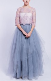 Long Tulle&Satin Dress With Tiers
